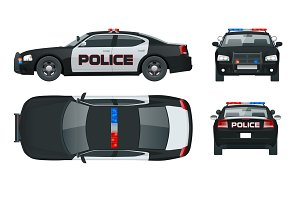 Vector Police car with rooftop flashing lights, a siren and emblems. Template isolated illustration. View front, rear, side, top. Change the colour in one click.