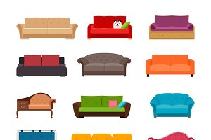 Sofa colored vector set