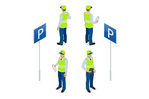 Isometric Parking Attendant. Traffic warden, getting parking ticket or parking ticket fine mandate. Flat 3d illustration