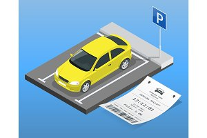 Isometric vector illustration Car in the parking lot and Parking tickets. Flat illustration icon for web. Urban transport. parking space