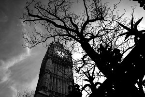 Big Ben, London. Black and white