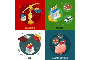 Isometric Business and Finance Icons. Flat 3d isometric illustration. For infographics and design