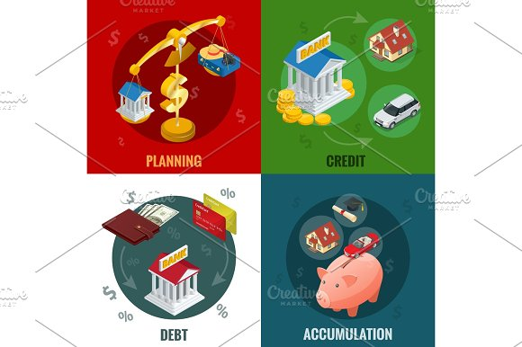 Isometric Business And Finance Icons Flat 3D Isometric Illustration For Infographics And Design
