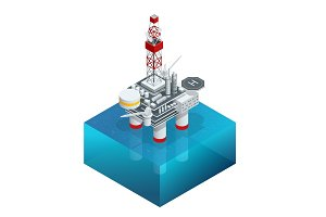 Isometric platform for production oil and gas, Oil and gas industry and hard work, Production platform and operation process by manual and auto function.