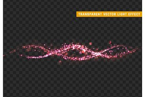 Magic light effect. Stardust pink glitter. Sparkle star dust vector illustration