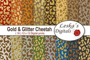 Gold & Glitter Cheetah Backgrounds