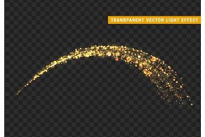Magic light effect. Stardust golden glitter. Sparkle star dust vector illustration