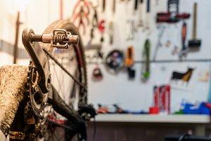 Bike workshop. Repair process