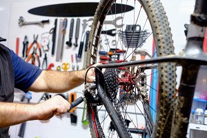 Bike workshop. Repair process