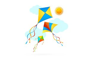 Flying Kite Summer Background.
