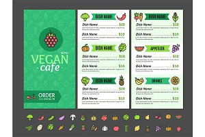 Vegan Healthy Food Menu Cafe