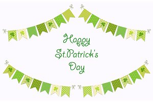 Cute festive bunting flags with clover isolated on white background. Happy Saint Patrick's Day garlands.