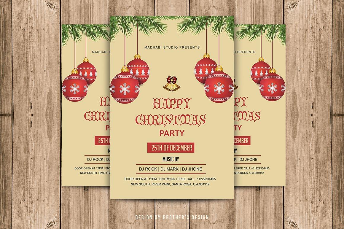 christmas invitation flyer flyer templates creative market