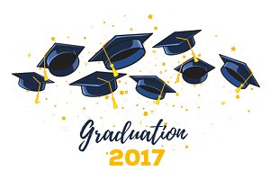 6 illustrations with graduate caps