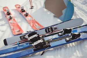Close-up of skis in snow