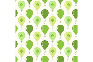 Cute festive seamless background with ballons and clover isolated on white