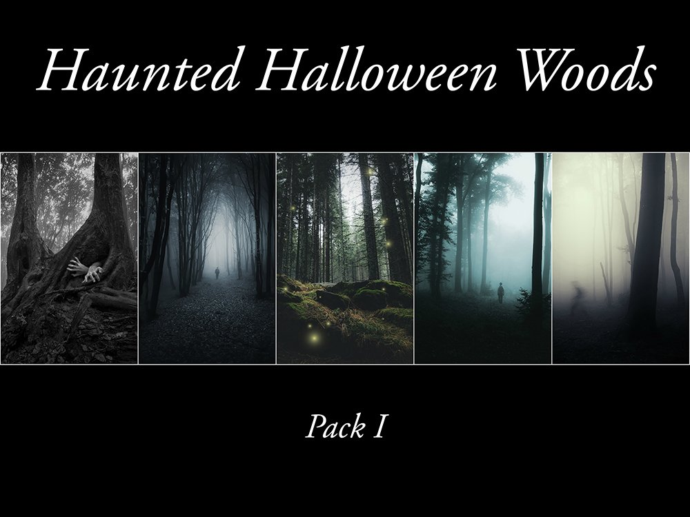 haunted halloween woods pack 1 holiday photos creative market