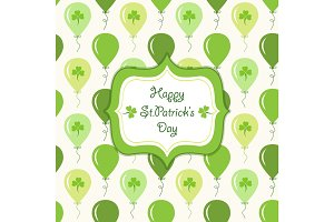 Cute festive background with ballons and clover isolated on white background. Happy Saint Patrick's Day card.