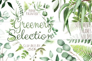 Greenery Watercolor Clipart Leaves