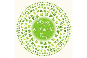 Cute festive frame with clover isolated on white background. Happy Saint Patrick's Day card.