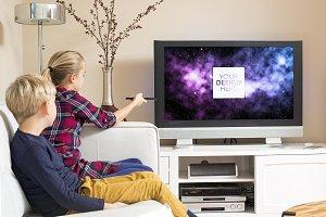 Kids watching TV PSD template