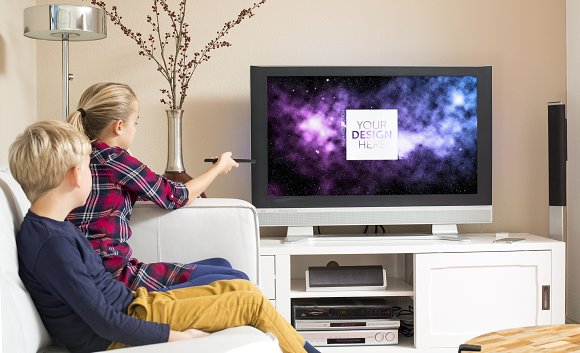 kids watching tv psd template templates creative market