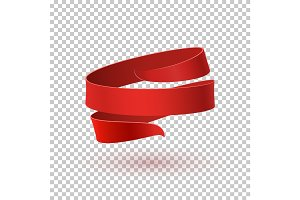 Red ribbon, on transparent background.