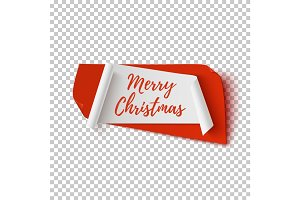 Merry Christmas, abstract red and white banner.
