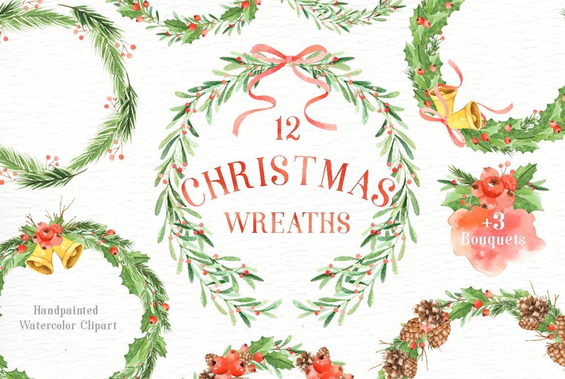 Watercolor Christmas Wreath Png.Christmas Wreaths Watercolor Set Illustrations Creative