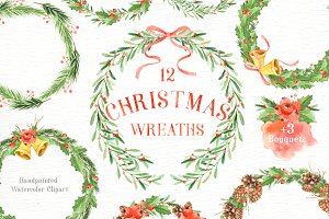 Christmas Wreaths Watercolor Set