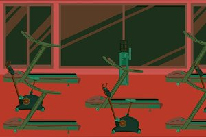 Flat colorful gym 09