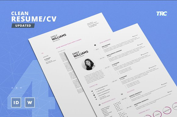 Clean resumecv template volume 4 resume templates creative market clean resumecv template volume 4 resumes pronofoot35fo Image collections