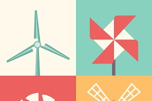 Windmill linear flat icons