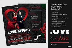 Valentines Day Flyer+Menu Bundle V3