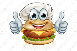 Burger Chef Food Cartoon Character Mascot
