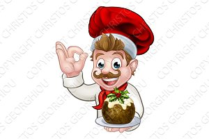 Chef in Christmas Hat Holding Pudding