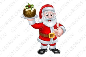 Santa Holding a Christmas Pudding