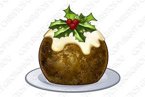 Christmas Plum Pudding Cartoon