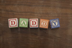 Daddy in wooden blocks