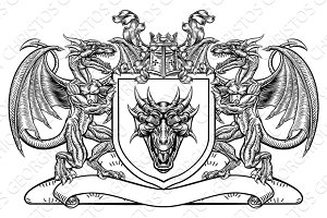 Dragon Heraldic Crest Coat of Arms Shield Emblem
