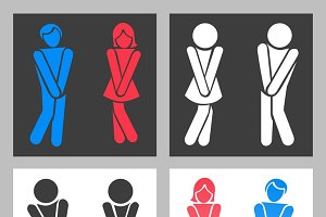 Funny boy and girl toilet icons
