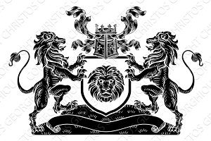 Lion Heraldic Coat of Arms Shield Crest Emblem
