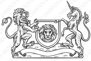 Lion Unicorn Heraldic Shield Crest Coat of Arms