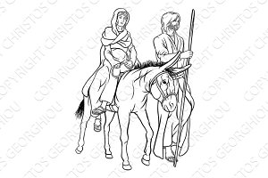 Nativity Mary and Joseph Christmas Illustration
