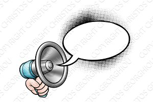 Cartoon Speech Bubble Megaphone