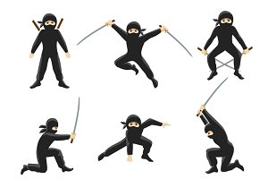 Cute cartoon ninja illustration