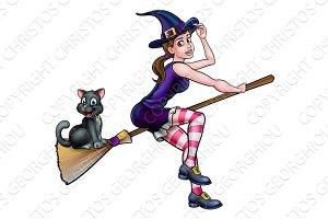 Witch Cartoon Character Flying On Broomstick