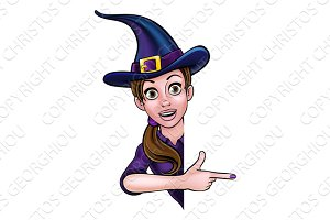 Halloween Witch Pointing at Sign