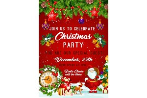 Christmas party vector New Year invitation poster
