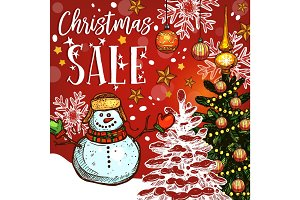 Christmas sale banner of winter holidays discount
